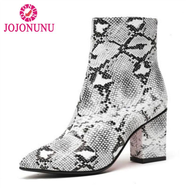 FITWEE Winter Women Ankle Boots Warm Fur Point Toe Zipper High Heel Boots Fashion Trendy Shoes