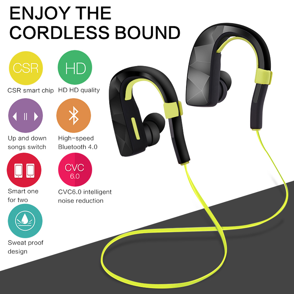 2017 Bluetooth In-Ear Earphone Sport Wireless HIFI Music Stereo CSR Universal Headset For iPhone 6 7 Samsung S6 S7 Xiaomi HTC LG high quality 2016 universal wireless bluetooth headset handsfree earphone for iphone samsung jun22