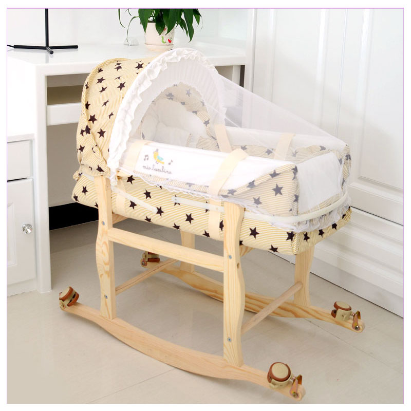 Crib Bassinet for Newborn Baby Stroller Roller Crib Rocking Portable Sleeping Basket with Mosquito Net Baby Bassinet Stroller aulon stroller bassinet baby sleeping basket 0 6 months use need to buy stroller in additional then can use 3 colors baby basket