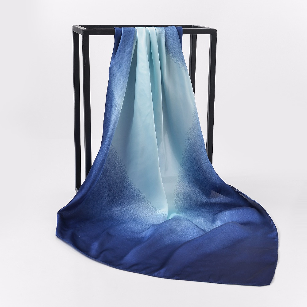 Two Colors Hot Sale Luxury Brand 100% Silk Feeling Shawl   Scarf   Blue Foulard Square   Scarves   Hijab   Wraps   90x90cm