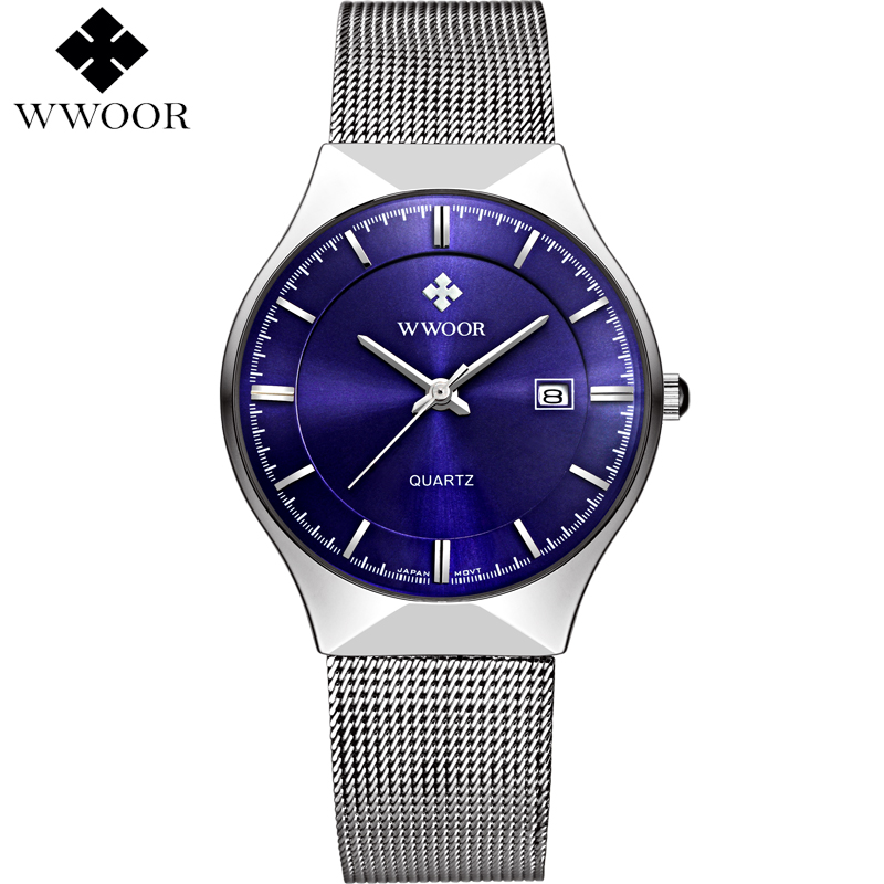 Brand Luxury Men's Watch Men Quartz Waterproof Slim Date Clock Male Fashion Casual Sports Wrist Watches WWOOR relogio masculino wwoor waterproof ultra thin date clock male stainess steel strap casual quartz watch men wrist sport watch 3 colors