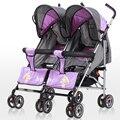 Esperança 306 s ajustável gêmeos multifuncionais dobráveis carrinho de criança, Carrinhos duplos de guarda-chuva, Verão stroller, De alta qualidade