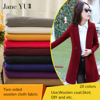 JaneYU Fashion Solid Woolen Fabrics Autumn Winter Thicker Solid Coat Coat Imitation Wool Double Sided Cashmere