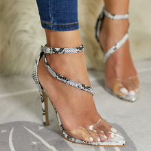 2019 Summer New Design Transparent Women Sandals Sexy Fashion Ladies Shoes Pointed Toe High Heel Snakeskin Woman Pumps Sapato 2017 summer new transparencies women high heel sandals sexy crystal flock women shoes peep toe pumps sapato feminino