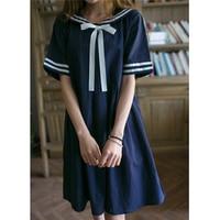 Primavera e l'estate 2016 stile Giapponese Mori Ragazza di Stile College Sistemi di vento navy dress Bowknot Sciolto Era sottile Fluido vestito ragazza