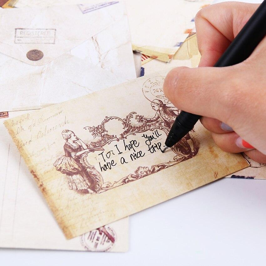 12pcs Fashion Vintage Office Supplies Mini Envelope Postcard Letter Stationary Storage Paper Air Mail