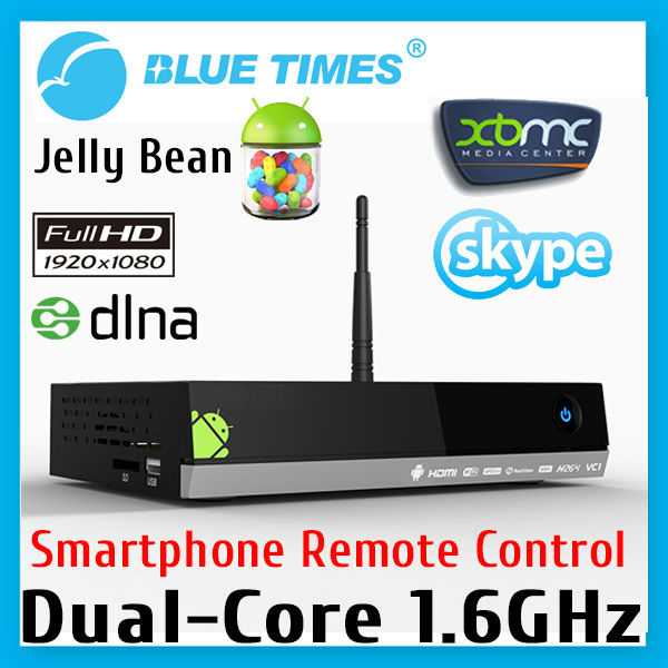Bluetimes MX5 Dual Core Android 4.2.2 TV Box XBMC Media Player Center Smartphone Remote Control AMLogic 8726 M6 Free Shipping