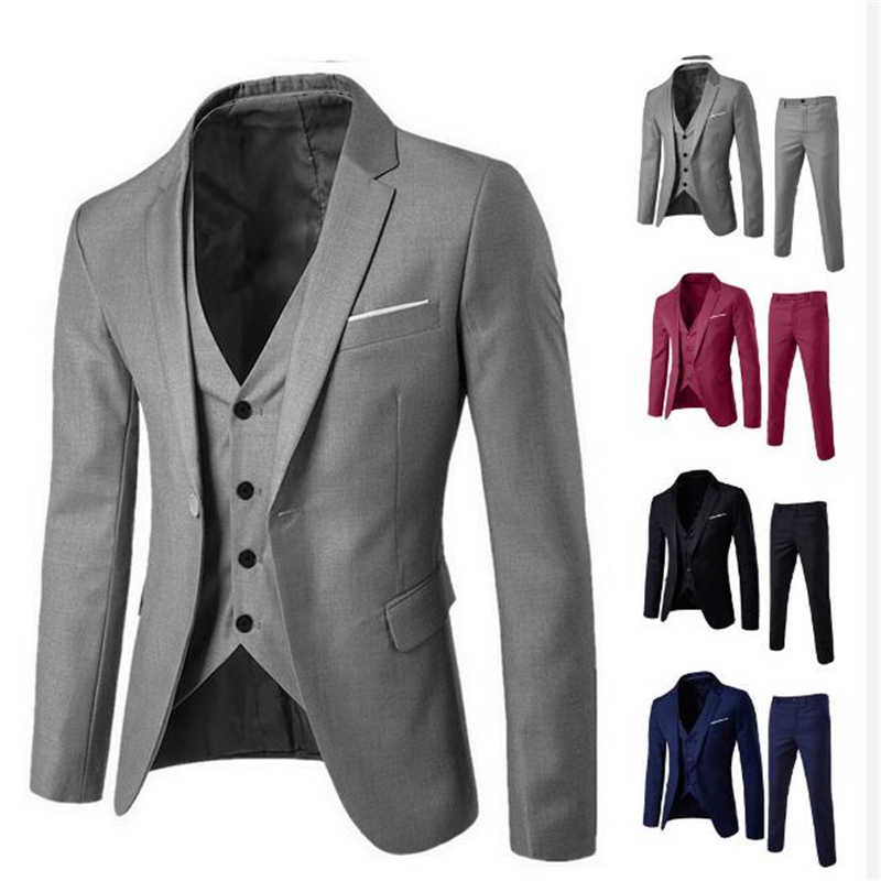 jacket+ pants trousers+ vest sets business casual men's fashion Slim suits men's clothing groomsman three-piece suit Blazers set