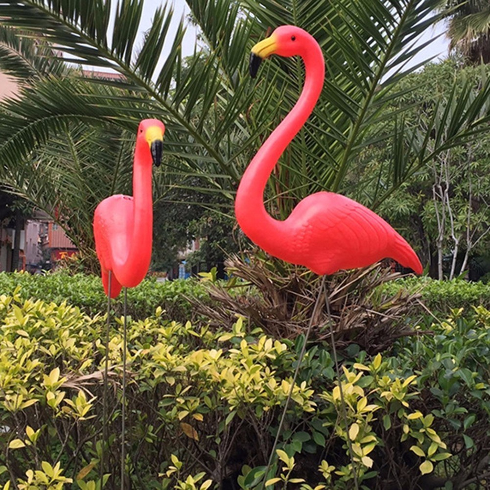 2Pcs Lifelike Artificial Red Flamingo Ornament Home Garden Lawn Decoration Christmas Party Balcony Decoration 1