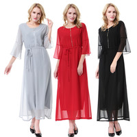 Abaya Muslim Dress Arabic Islamic Clothes Turkey Dubai Fashionable Modest Muslim Women Dress Belted Chiffon Double