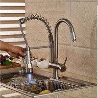 Led cor mudar navio de níquel escovado torneira da cozinha dupla pulverizador Sink toque Mixer