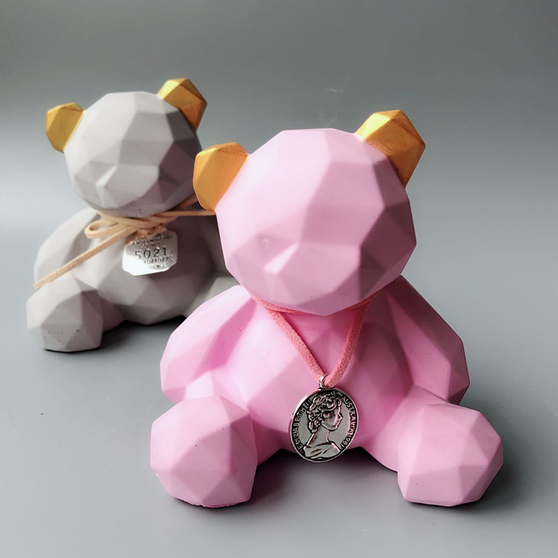 Small Size Geometric Bear Silicone Mold Aromatherapy Plaster Mould Car Decoration Sitting Bear DIY Gypsum Molds
