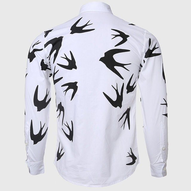 Men Swallow Animal Print Shirts White Social Casual Wear Turn Down Collar Cotton Blend Fabric Freedom Style Unique Design 1