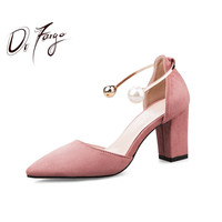 DRFARGO Women Pumps Summer Shoes Pointed Toe Block High Heels Pearl Buckle Women Luxury Elegant Party Sandals Wedding shoes34 39