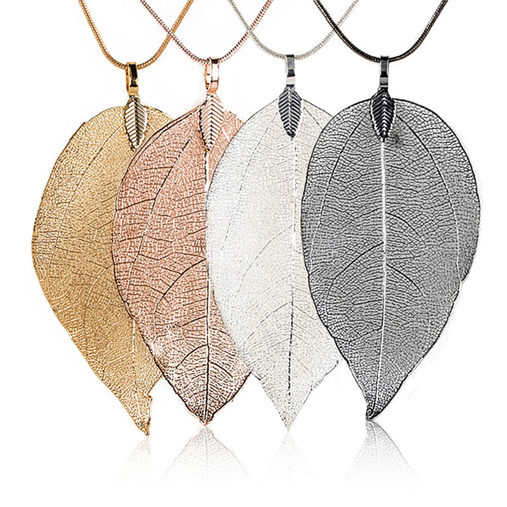 Bijoux Femme Collier 2017 New Pink Women Special Leaves Leaf Sweater Pendant Necklace Ladies Long Chain Jewelry Statement USPS