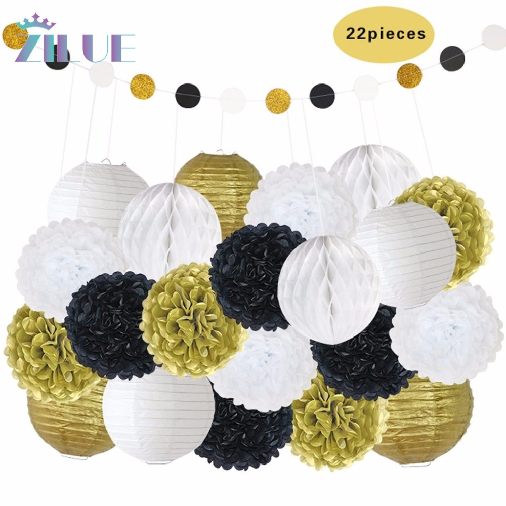 Zilue 22pcs/set Mix Size Gold White Paper Lanterns Wedding Decor ...