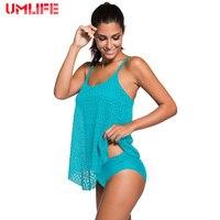 UMLIFE Two Pieces Set Plus Size Swimwear Women Vintage Padded Swimsuit Sexy Bikini Women Padded Bra Bathing Suit Brazilian 2019
