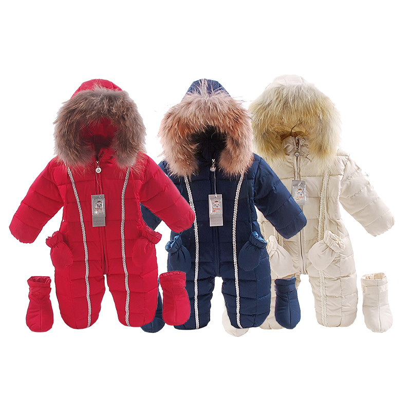 Baby Winter rompers  baby Girl Warm Clothes 3pcs/set Boys Outerwear Kids Jumpsuit Baby natural fur Down snowsuit new winter baby hat real fur pom pom knitted toddler kid thick warm double raccoon fur balls beanies boys girls bonnet gorros f3
