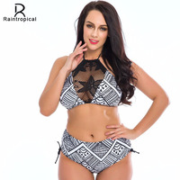 2016 Sexy High Neck Bikini Women Swimsuit Plus Size Swimwear Lace Retro Halter Top Bikini Set
