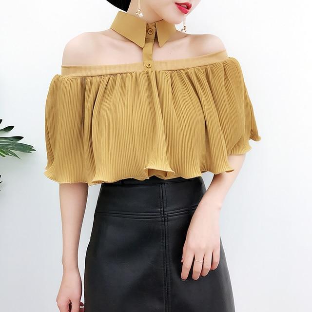 c8ab74e1986 moda feminina off shoulder blouse fashion designer brand summer women  blouses sexy Hanging neck shirts tops camisa feminina