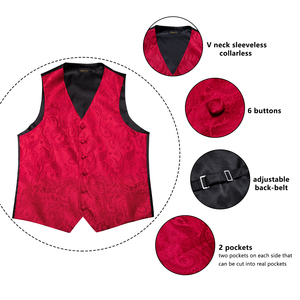 Image 5 - DiBanGu Top 9 styles Vest for Men Silver Red Orange Blue Mens Vest Suit Business Wedding Party Occasion Hanky Cufflinks Vests