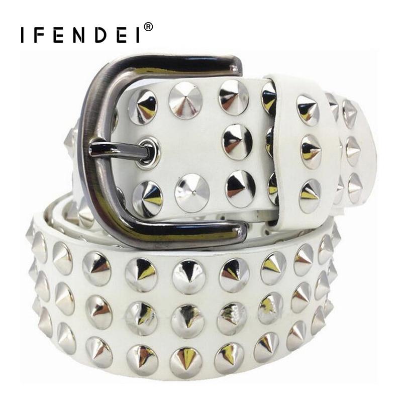 IFENDEI Luxury Designer Punk Belts For Women Men Fashion Rivets Male Belt PU Leather Hip Hop Strap Women cinturon mujer Street in Women 39 s Belts from Apparel Accessories