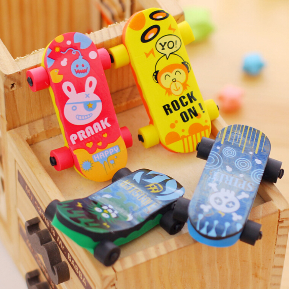 1PC Novelty Cartoon Skateboard Shaped Eraser Skate Board Pencil Erasers For School Office Erase Stationery Supplies Kids Gifts