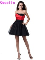 Ball Gown Short Black And Red Homecoming Dresses Strapless Mini Princess Tulle Prom Party Dresses For