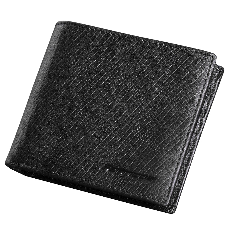 Genuine Leather Men Wallets Solid Bifold Brief Business Cowhide Short Purse Walets Money Bag Male Credit Card Holder Carteira