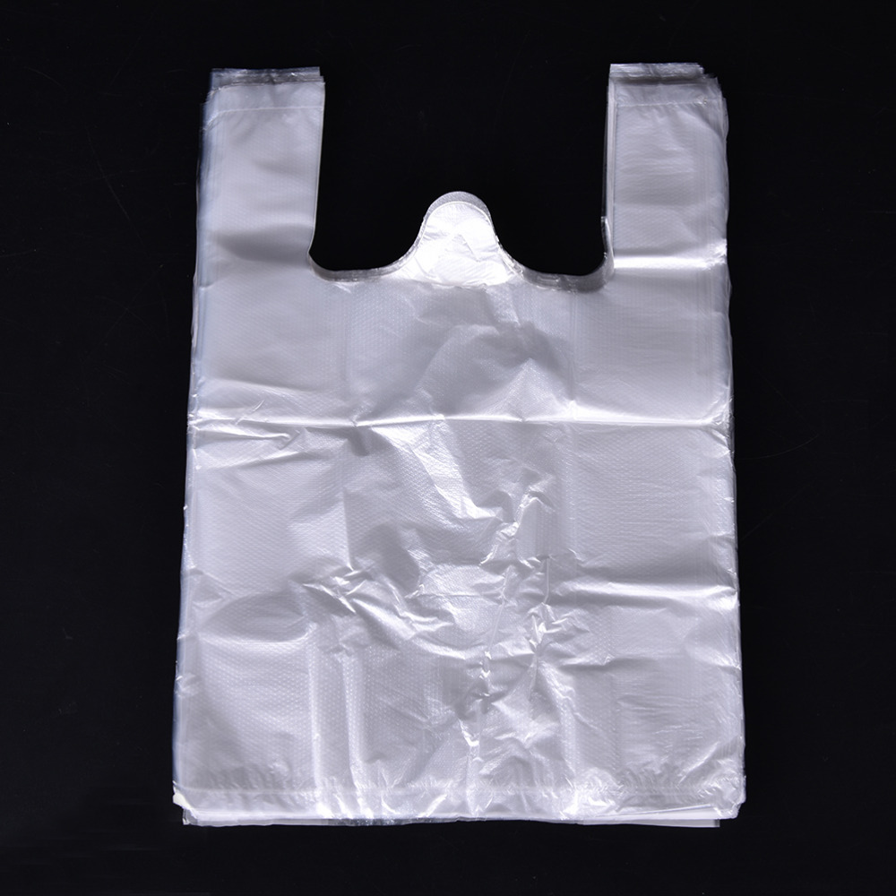 100pcs 20*30cm Transparent Bags Shopping Bag Supermarket Plastic Bags With Handle Food Packaging(China)