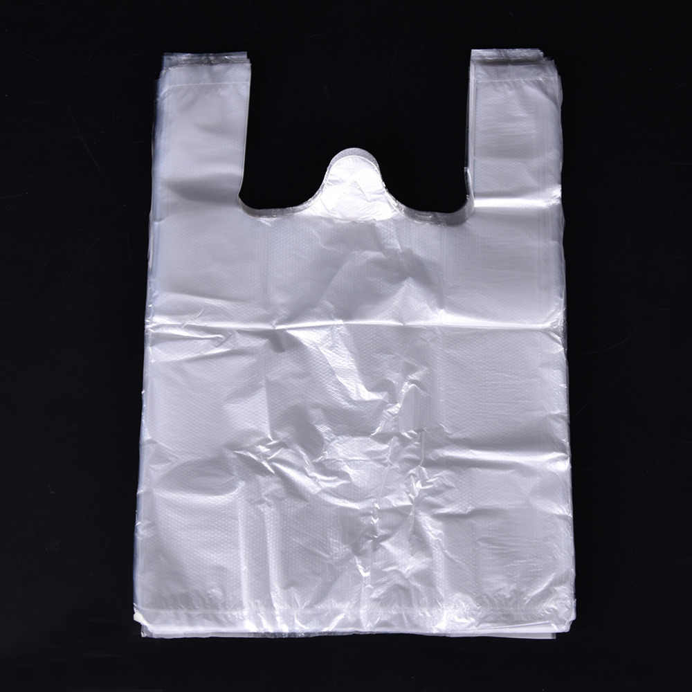 100pcs 20*30cm Transparent Bags Shopping Bag Supermarket Plastic Bags With Handle Food Packaging