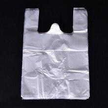 100 pcs/pack Transparentem Kunststoff Taschen Einkaufstasche Supermarkt Kunststoff Mit Griff Lebensmittel Bequem Für Lebensmittel