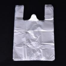 100 قطعة/الحزمة حقائب بلاستيكية حقيبة تسوق شفافة سوبر ماركت البلاستيك مع مقبض تغليف المواد الغذائية مريحة للأغذية