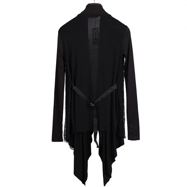Plus Size New Trendy Mens Knitted Tops Avant-garde Unique Mesh Accent Arm Warmer Shawl Cardigan Long Sleeve Coat Size M-3XL 5