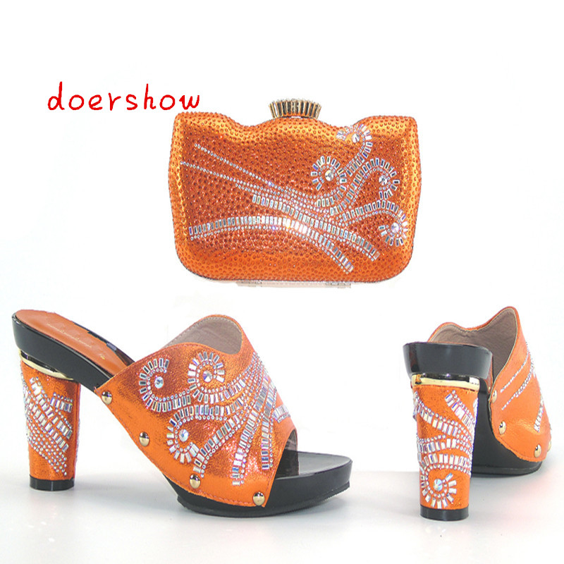 doershow Free shipping new arrival Fashion shoes and bags to match Italian design for the lady