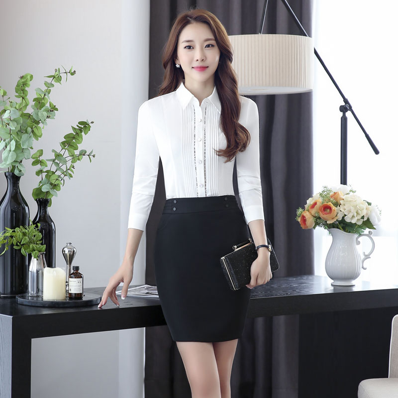 Novelty White Fashion Slim Formal OL Styles Professional Spring Autumn Work Suits With 2 Piece Tops