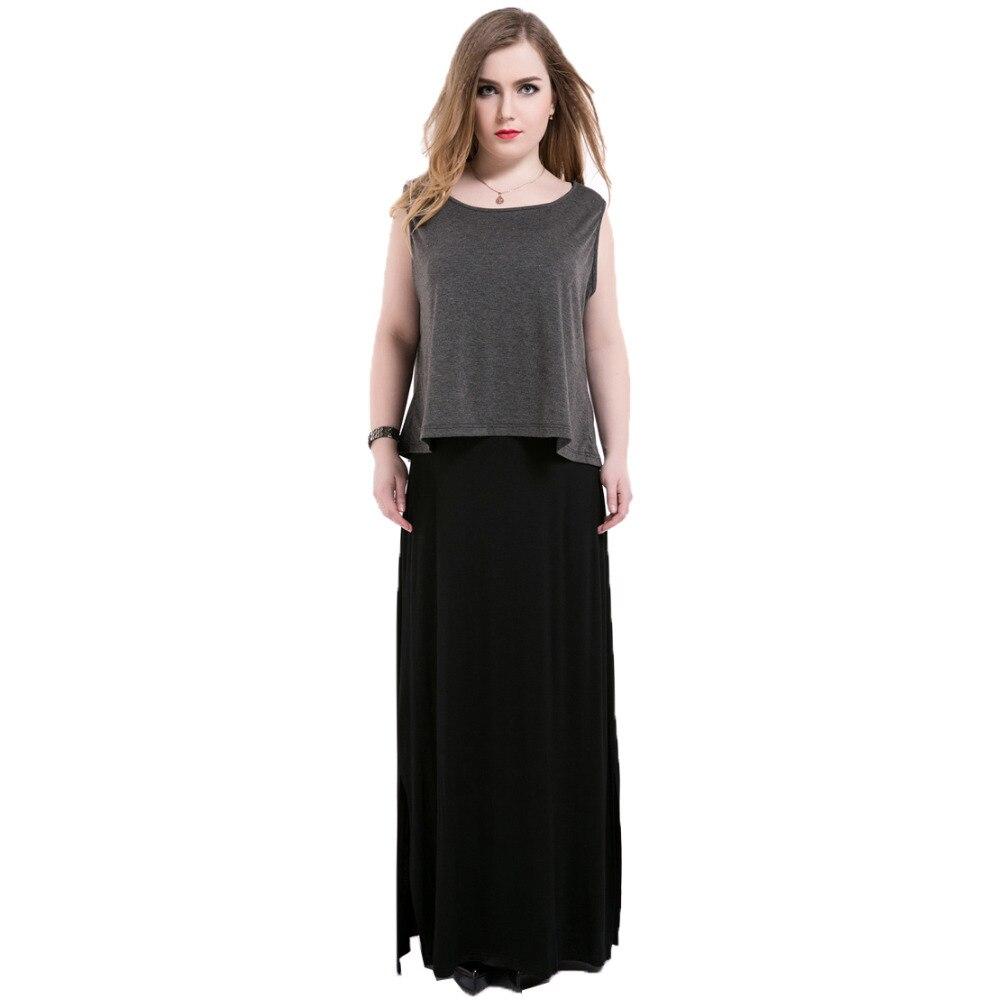 US $27.27 32% OFF|Sleeveless Maxi Dress Plus Size Casual 2 piece set Tank  Dress 2018 Summer 5xl 6xl O neck Side Split Long Women Dresses Ukraine-in  ...