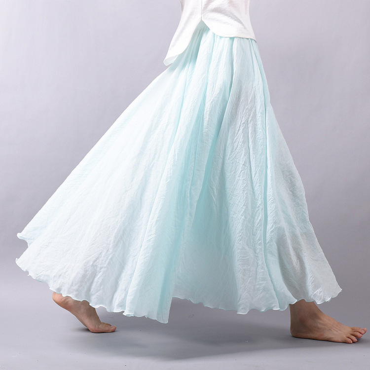 Sherhure 19 Women Linen Cotton Long Skirts Elastic Waist Pleated Maxi Skirts Beach Boho Vintage Summer Skirts Faldas Saia 13
