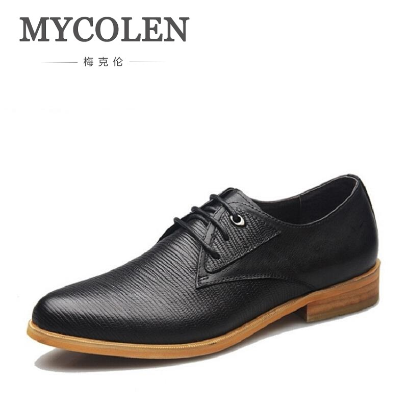 MYCOLEN Brand Men Dress Shoes England Style Business Wedding Formal Flats Black Shoes For Men Sapato Social Derby Shoes Men mycolen fashion brand men shoes winter handsome business casual shoes breathable men s leather shoes man derby sapato social