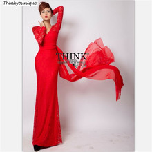2017 Real Picture V-neck Prom Party gowns Long Evening dresses abiti da sera robe de vestido de casamento longo com renda H0707(China)
