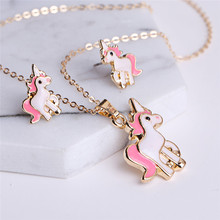 Cartoon Horse Unicorn Necklace Earring Jewelry Sets For Girls