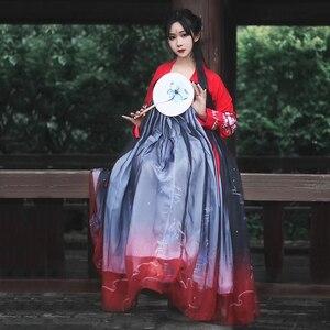 Image 1 - Hanfu Chinese Dans Kostuum Traditionele Podium Outfit Voor Zangers Vrouwen Oude Jurk Folk Festival Prestaties Kleding DC1133