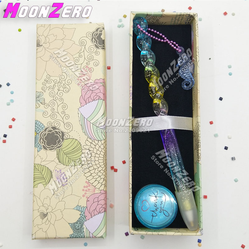 New Rainbow Colorful Ocean Pen With Chain Embroidery Accessories Wax Diamond Painting Cross Stitch Point Drill Mosaic Tool Kits