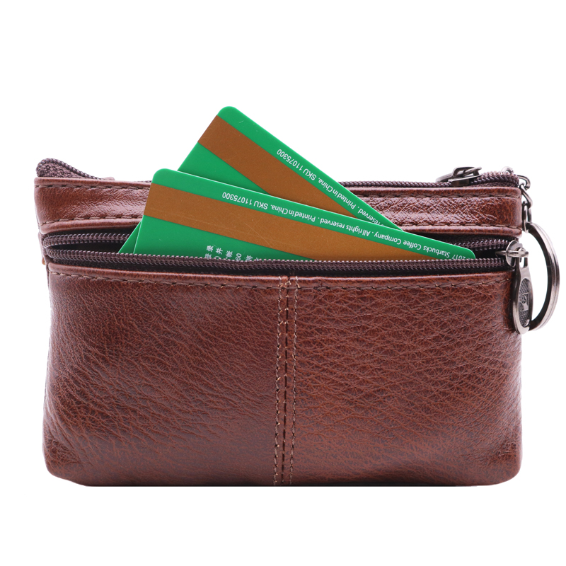Boho Genuine Leather Women Coin Purses Mini Wallets Zipper Magic Credit Card Slim Walet Female Small Money Bags With Key Ring in Coin Purses from Luggage Bags