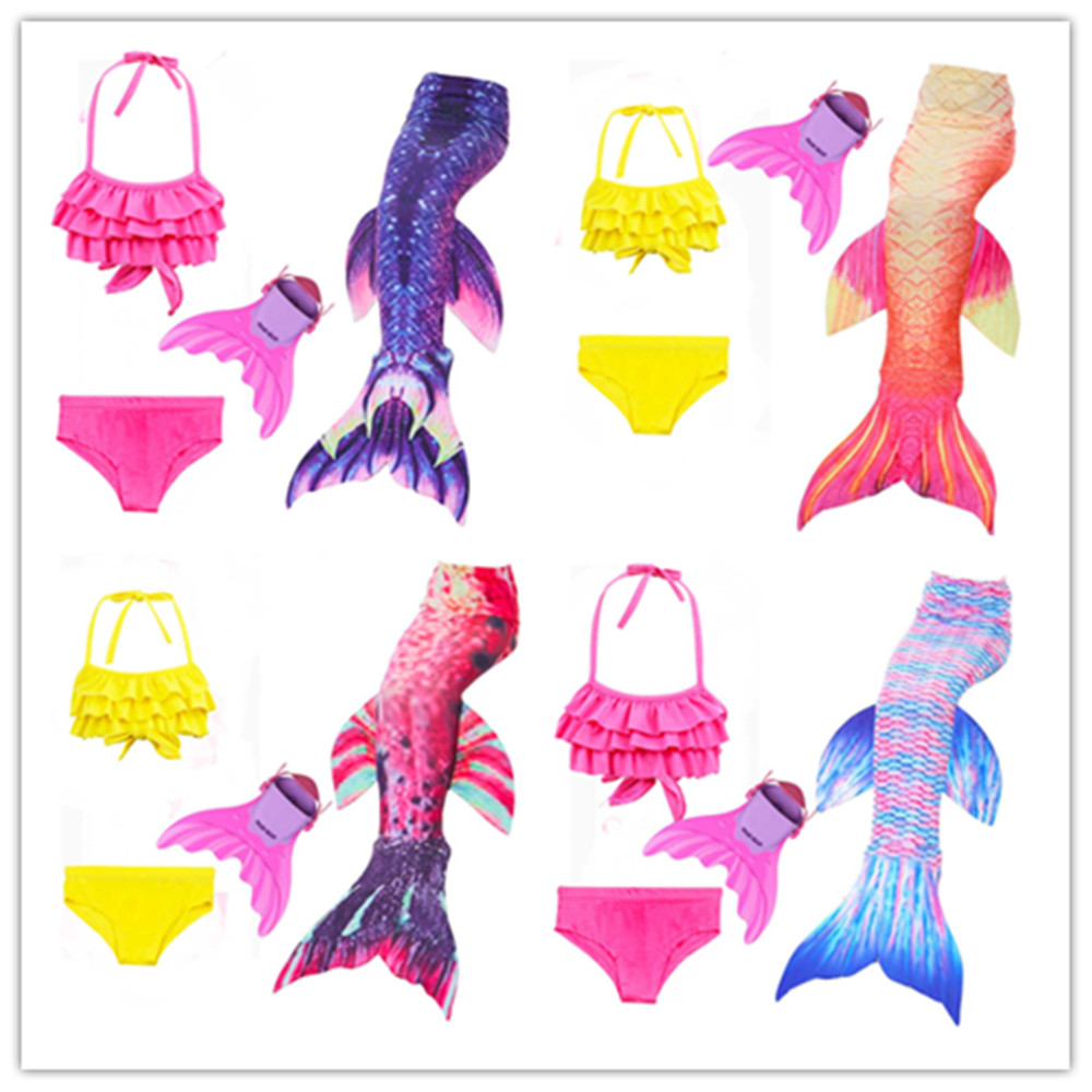 10e435df9a860 Detail Feedback Questions about 3 12Years 2018 Girls Children Mermaid Tails  with Monofin for Girls Kids Bikini Costume Swimming Swimmable Mermaid Tail  ...