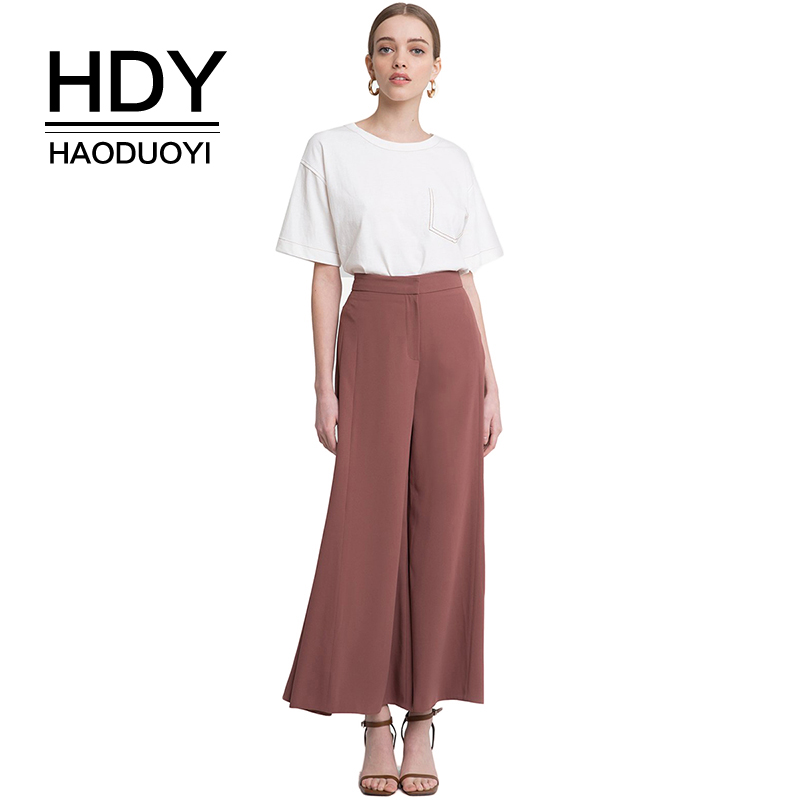 HDY Haoduoyi Woman 2019 New High Waist   Wide     Leg   Loose   Pants   Solid Office Lady Brief Trousers For Female