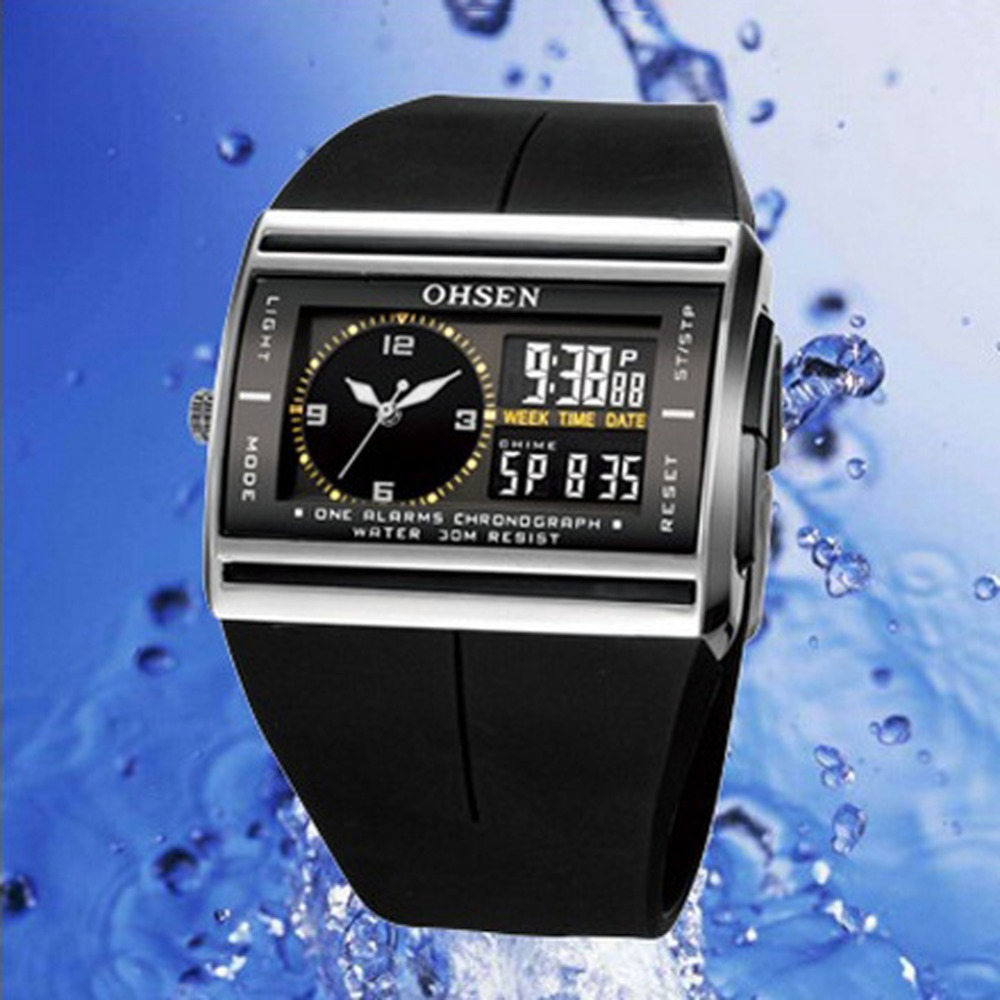 OHSEN Digital Quartz Mens Sport Watch Wristwatch Dual Time Display 30M Waterproof Rubber Band White LCD Male Clock