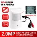 Estilo pir motion detector 25fps hd h.264 1080 p câmera ip com PoE 2MP Onvif & P2P Visão 940nm Leds Nightvision Segurança câmera