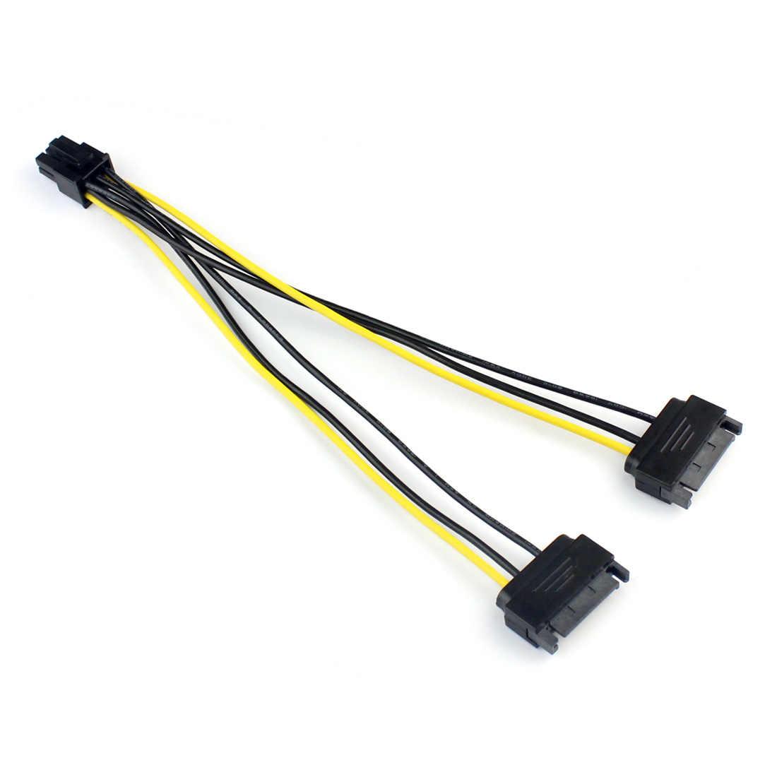 1x Dual 2 SATA 15 פין זכר M כדי PCI-e אקספרס כרטיס 6 פין נקבה גרפיקה וידאו כרטיס כוח כבל 20cm