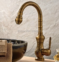 Antique Brass Gooseneck Style Swivel Spout Kitchen Sink Faucet Single Handle Mixer Taps Deck Mounted Wsf001